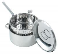 Bayou Classic 10-Quart Stainless Steel Fry Pot with Lid and Basket