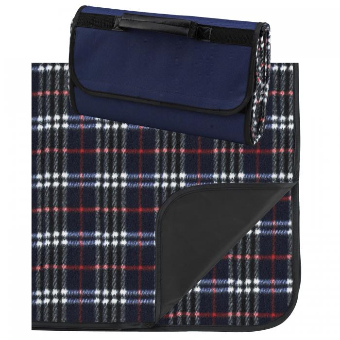 "Picnic at Ascot Outdoor Picnic Blanket with Waterproof Backing  58"" x 53"". Navy Plaid"