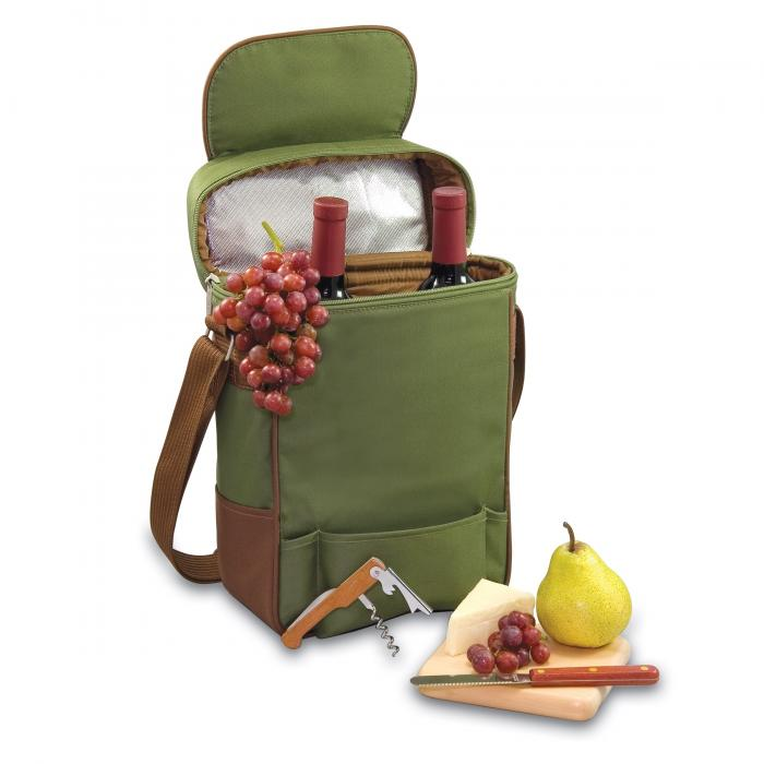 Picnic Time Duet 2 Bottle Wine & Cheese Tote w/ Accessories, Pine/Olive