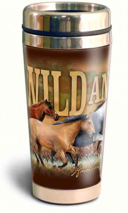 American Expeditions Wild and Free Mustang Steel Travel Mug