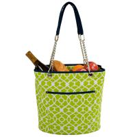 Picnic at Ascot Large Insulated Fashion Cooler Bag - 22 Can Tote - Trellis Green