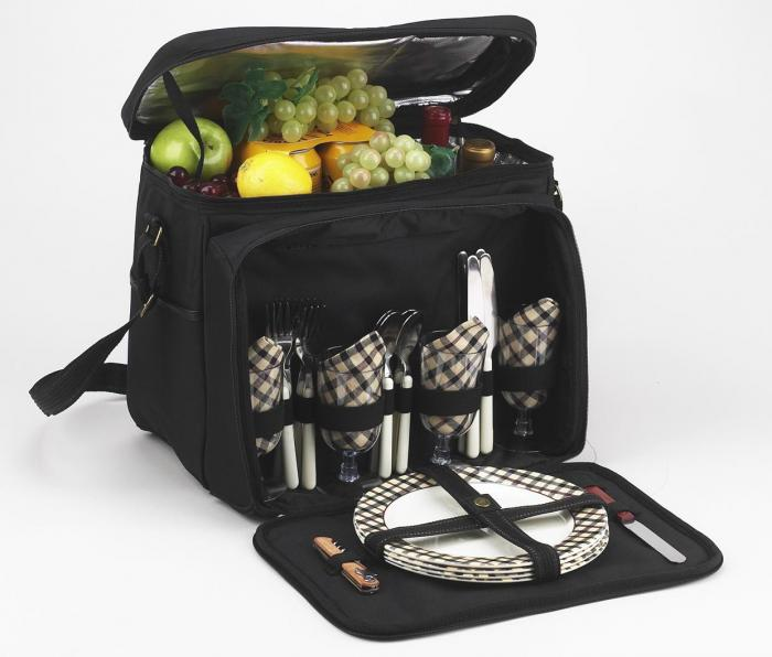 Picnic at Ascot Equipped Insulated Picnic Cooler with Service for 4 - London Plaid