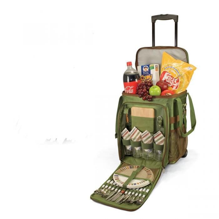 Picnic Time Avalanche Cooler on Wheels w/ Deluxe Service for 4