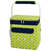 Picnic at Ascot 6 Bottle Insulated Wine Tote- Collapsible Multi Purpose Cooler - Trellis Green