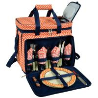 Picnic at Ascot Deluxe Picnic Cooler for 4 - Diamond Orange