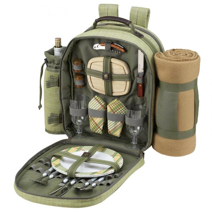 Picnic at Ascot Deluxe Equipped 2 Person Picnic Backpack with Cooler, Insulated Wine Holder & Blanket - Olive Tweed
