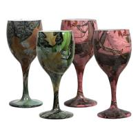 Rivers Edge Products 4 Pack Camo Wine Glasses 2 Grn /2 Pink