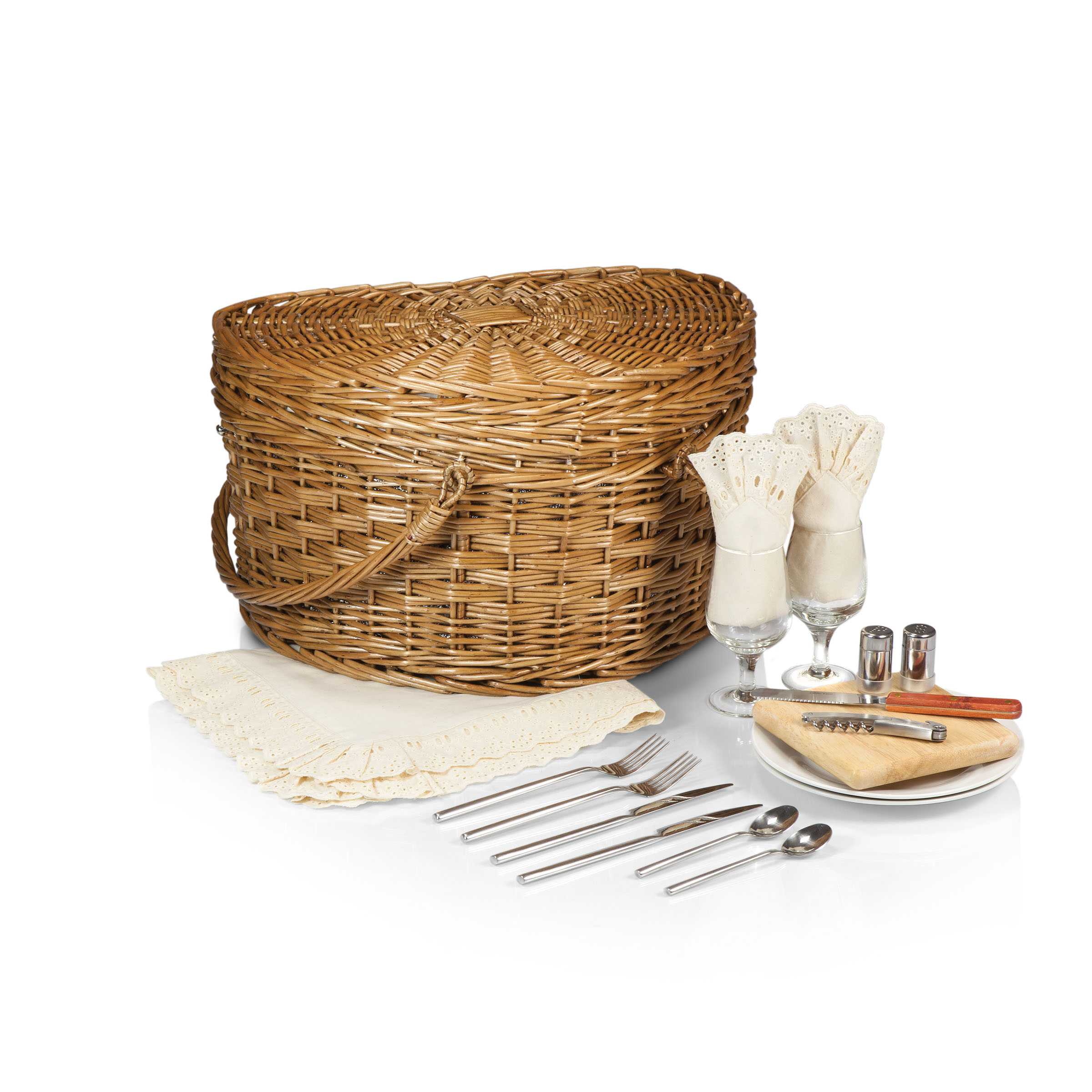 Time Woven Heart Picnic Basket for 2