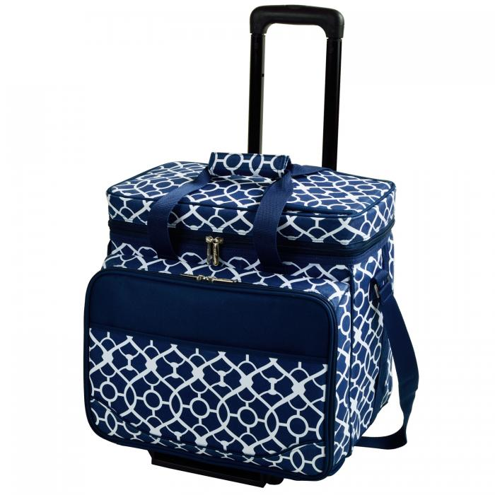 Picnic at Ascot Equipped Picnic Cooler with Service for 4 on Wheels - Trellis Blue