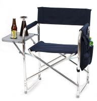 Picnic Plus Directors Sport Chair with Folding Side Table & Side Panel Pockets - Navy