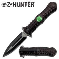 Zombie Hunting Stiletto Style Spring Assisted Open Pocket Knife, Black