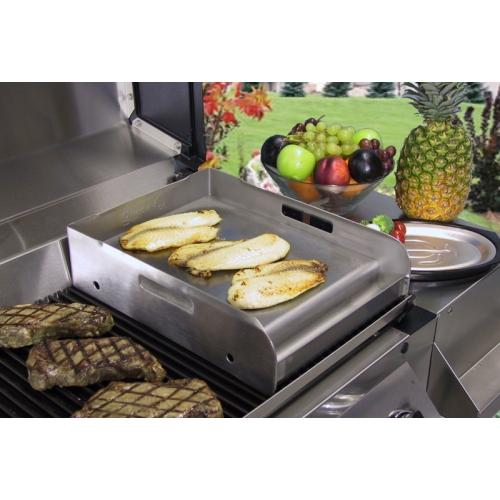 Half Sized Stainless Steel Griddle for BBQ Grills by Little Griddle