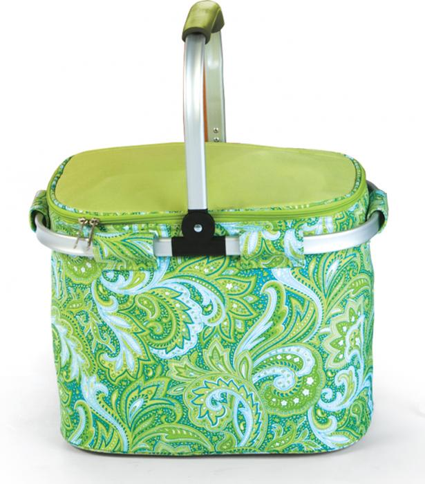 Picnic Plus Shelby Collapsible Tote Green Paisley