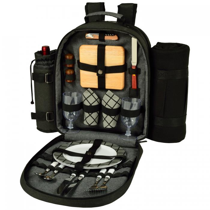 Deluxe Equipped 2 Person Picnic Backpack w/Blanket - Charcoal