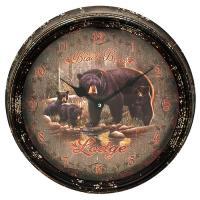 "Black Bear Lodge Metal Clock 15"""