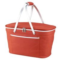 Picnic at Ascot Stylish Insulated Market Basket / Picnic Tote with Sewn in Aluminum Frame - Orange