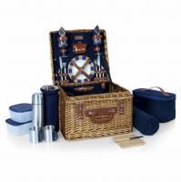 Picnic Time Canterbury Willow Basket for Two (Navy Blue)