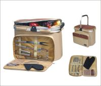 Picnic & Beyond Aluminum Framed Picnic Cooler Basket with BBQ Set