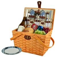 Picnic at Ascot Frisco Traditional American Style Picnic Basket with Service for 2 - Blue Stripe