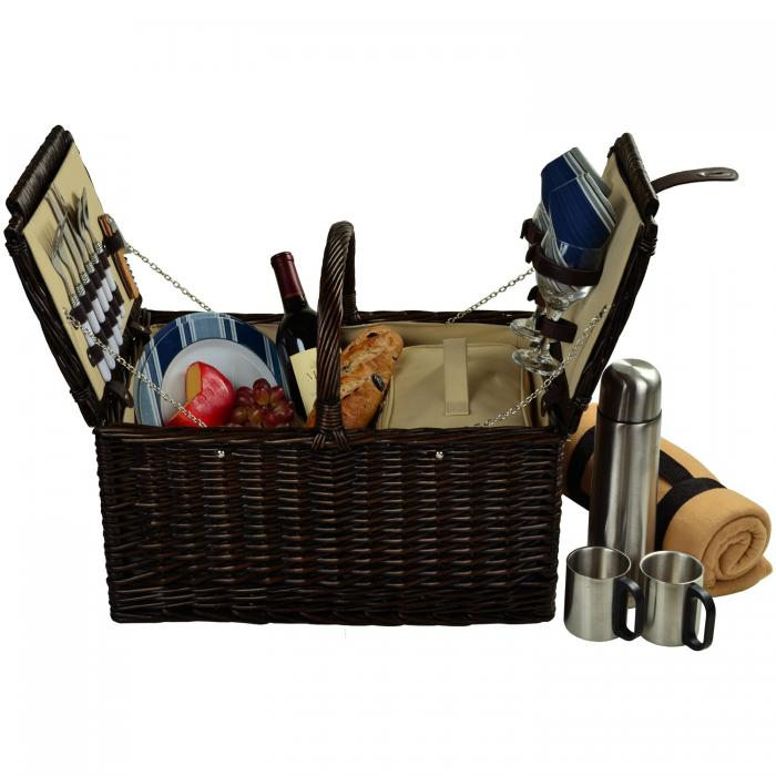 Picnic at Ascot Surrey Willow Picnic Basket with Service for 2 with Blanket and Coffee Set - Blue Stripe