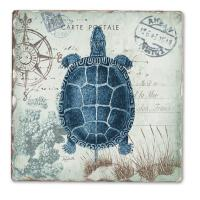 Counter Art Seaside Postcard Single Tumble Tile Coaster