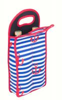 Zee's Creations Neoprene Anchor Design Wine Bottle Tote (Holds 2 Bottles)