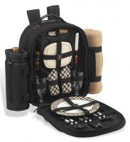Picnic at Ascot Deluxe Equipped 2 Person Picnic Backpack with Cooler, Insulated Wine Holder & Blanket - London Plaid