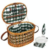 Fully Lined Willow Picnic Basket with Service for 4