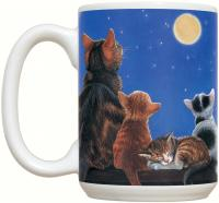 Fiddler's Elbow Cats Under Full Moon 15 oz Mug