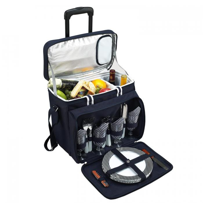 Picnic at Ascot Deluxe Picnic Cooler For Four On Wheels - Navy