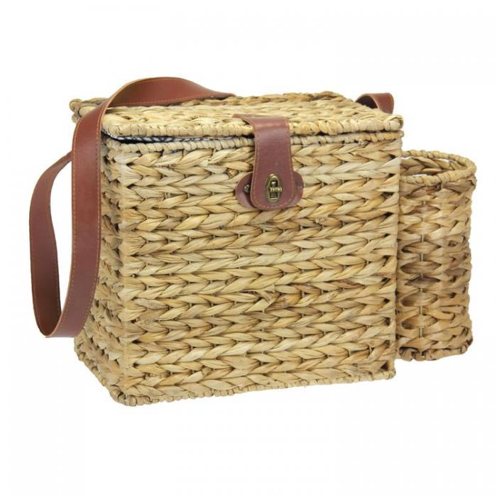 Banana Leaf Picnic Basket with Wine Caddy and Service for 2