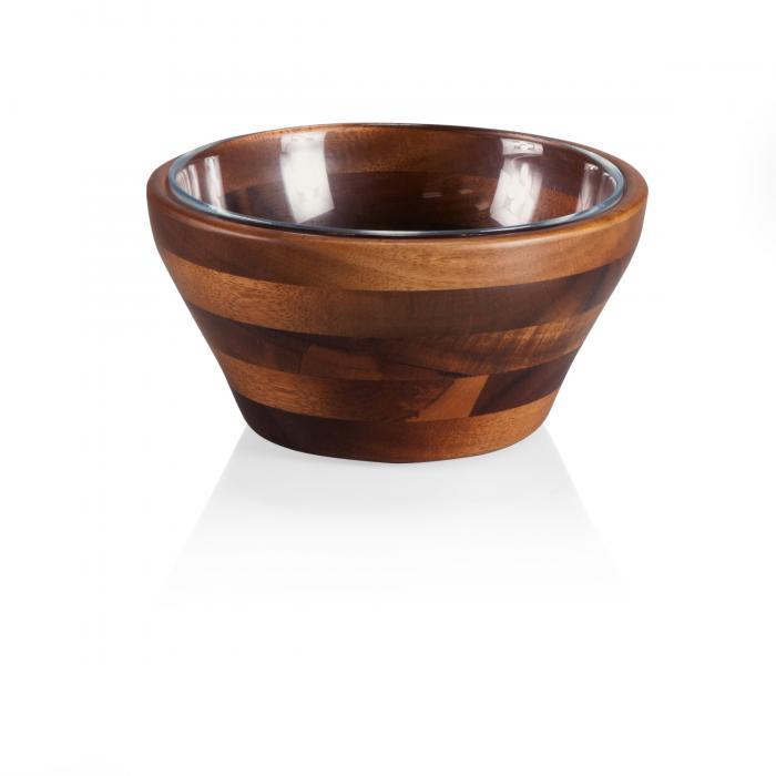 Picnic Time Carovana Nested Set-One Wood and One Glass Bowl, 1-1/2 Pt. (Acacia)