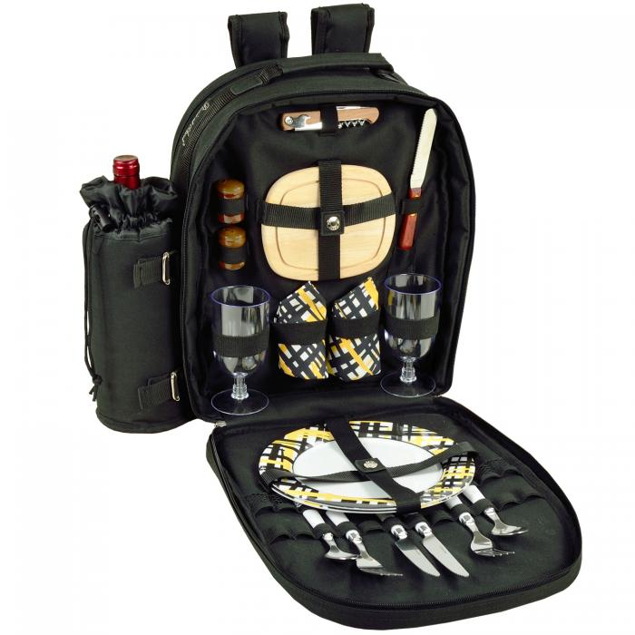 Picnic at Ascot Deluxe Equipped 2 Person Picnic Backpack W/Cooler & Insulated Wine Holder - Black /Paris