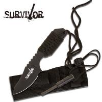 Master Cutlery Survival Fire Starter Hunting Camping Knife w/ Flint - Black