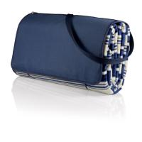 Picnic Time Blanket Tote XL- Blue Stripes/Navy
