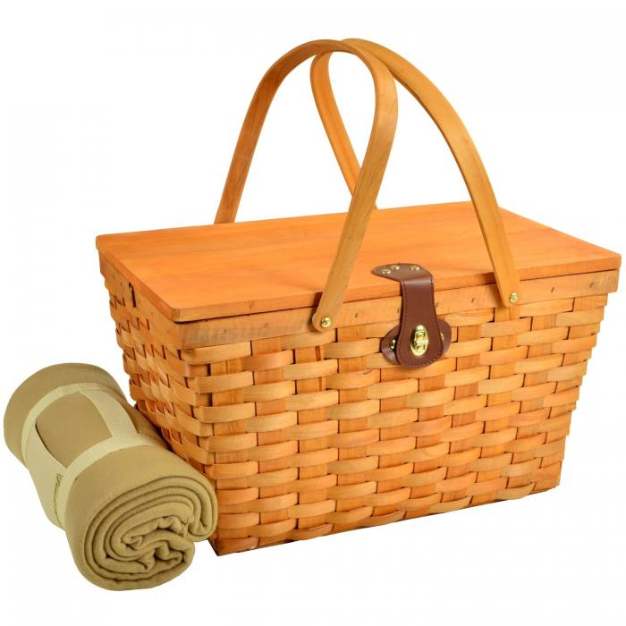 Picnic at Ascot Settler Traditional American Style Picnic Basket with Service for 4 & Blanket- Blue Stripe