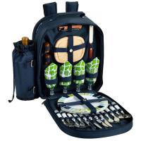 Picnic at Ascot - Deluxe Equipped 4 Person Picnic Backpack with Cooler & Insulated Wine Holder - Trellis Green