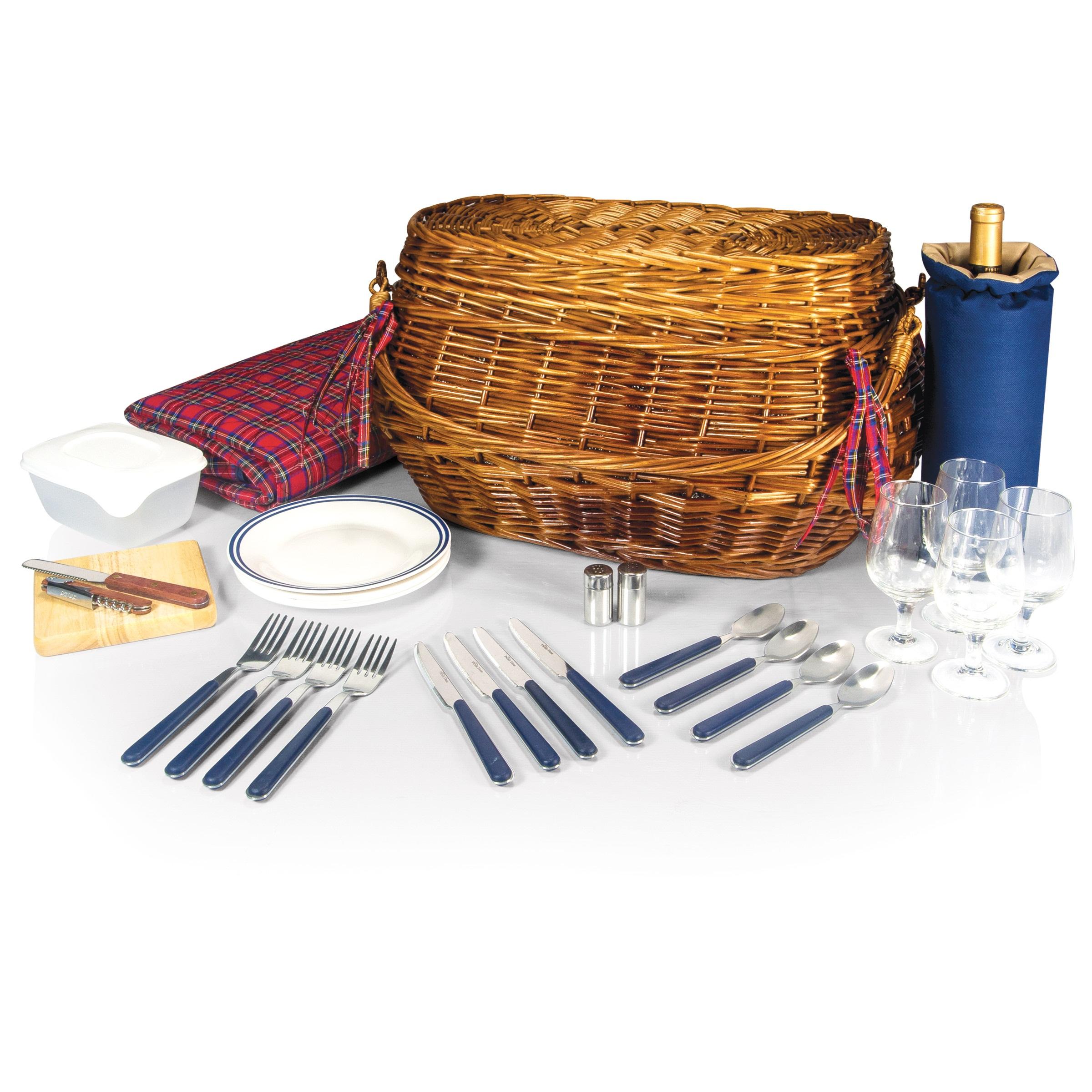 Highlander 4 Person Picnic Set in Blue or Olive Camping Fishing Picnics
