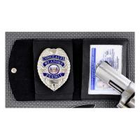 Fury Sporting Cutlery Badge/ID Case w/Viewable Window, Black Synth. Leather, Clip