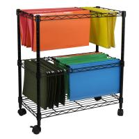 Oceanstar Portable 2-Tier Metal Rolling File Cart, Black