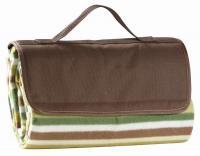 "Primeware Jaja Fleece Picnic Blanket Tote w/Waterproof Backing (60"" x 60""), Olive Stripe"