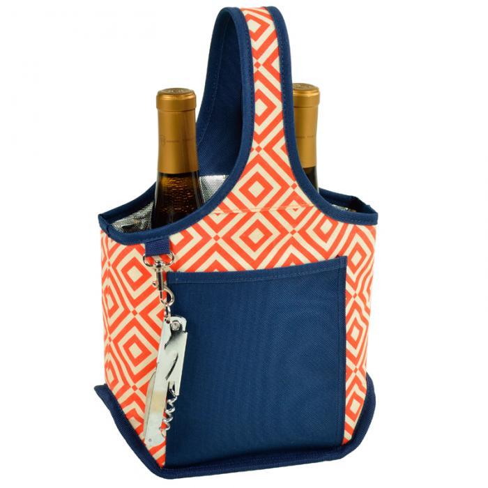 Picnic at Ascot Stylish 2 Bottle Wine Tote with Corkscrew - Orange/Navy