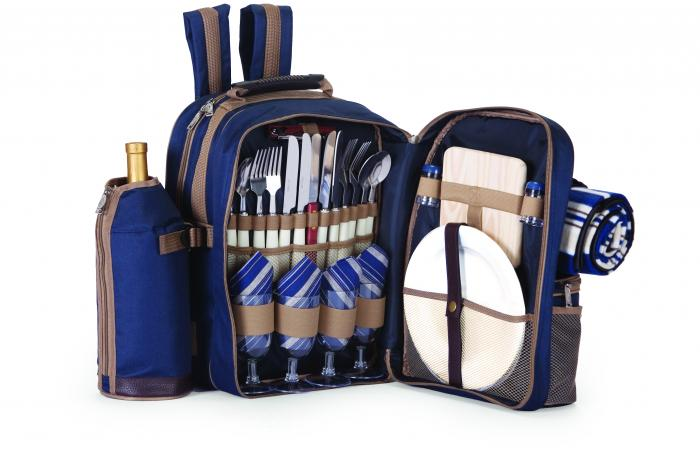 Picnic Plus Tremont 4-Person Picnic Backpack with Blanket (Navy)