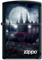 Zippo 218 Black Matte Goth Carriage and Bats