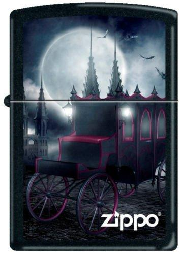 Zippo 218 Black Matte Goth Carriage and Bats
