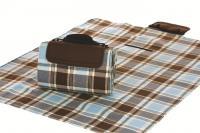 """Mega Mat Folded Picnic Blanket with Shoulder Strap - 48"""" x 60"""" (Mocha Blues)"""