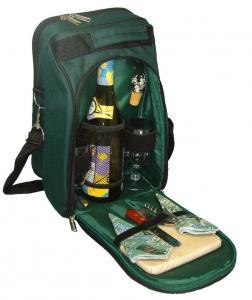 Primeware Del Mar- Two Person Wine & Cheese Tote w/ Vineyard Napkins, Green
