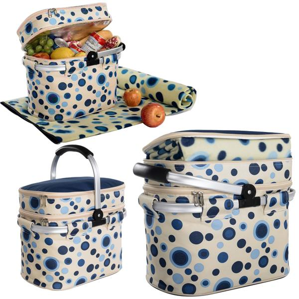 Picnic and Beyond Aluminum Framed Picnic Cooler Basket with Blanket