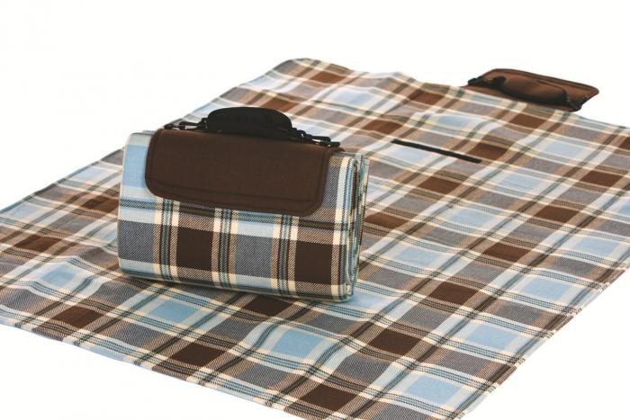 "Mega Mat Folded Picnic Blanket with Shoulder Strap - 48"" x 60"" (Mocha Blues)"