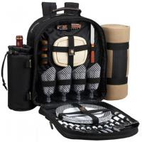 Picnic At Ascot Bon Appetite Picnic Pack (Black) for Four with (Tan) Blanket